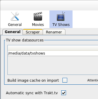 trakt.tv TV shows synchronize